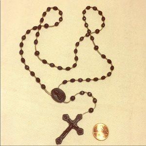 Black plastic vintage rosary beads crucifix cross